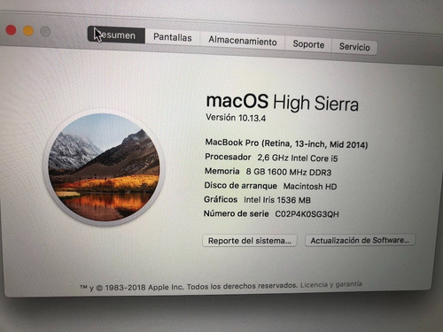 macbook pro retina 13'' usada 1 ciclo nueva apple garantia