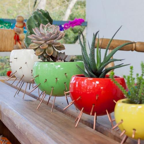maceta cactus mediana chica roja/blanca/verde - belgrano