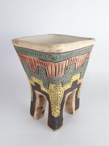 maceta caminante cerámica única 11x11x16cm