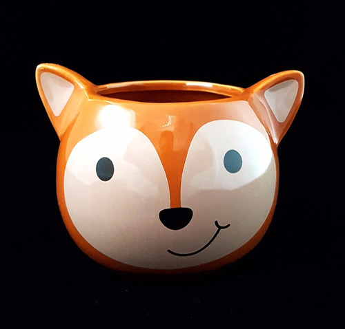 maceta ceramica zorro naranja