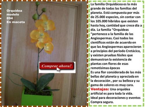 maceta con flor orquídea artificial  omm