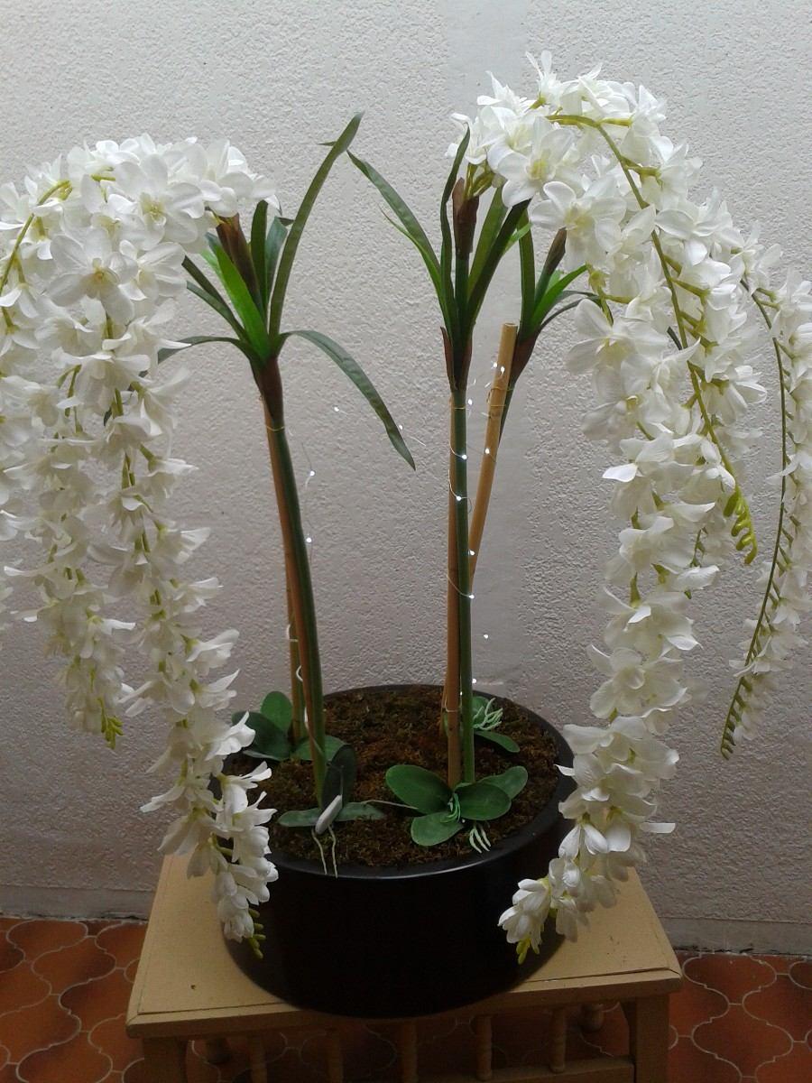 Maceta con orquidea artificial 3 en mercado libre - Maceta para orquideas ...