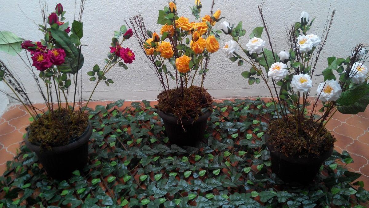 Maceta con rosales artificiales 1 en mercado libre - Rosales en macetas ...