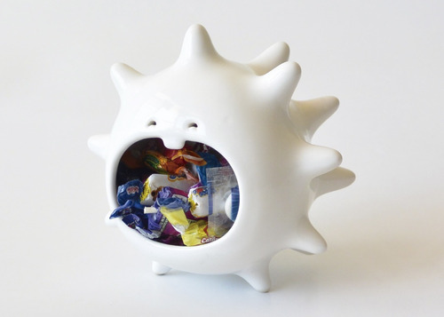 maceta contenedor comelón erizo de cerámica