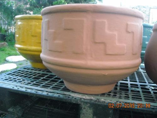 maceta de cemento redonda modelo incaica