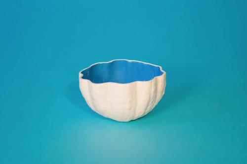 maceta de porcelana blanco y turquesa- tienda puro diseño