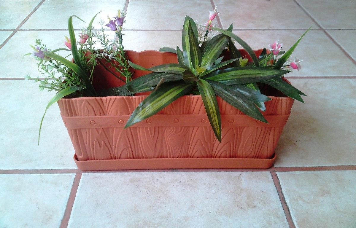Maceta rectangular con charola de plastico jardinera 2 - Macetas de plastico ...