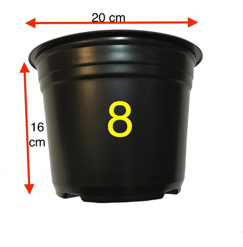 maceta vivero invernadero 8 pulgadas negra 100 maceteros