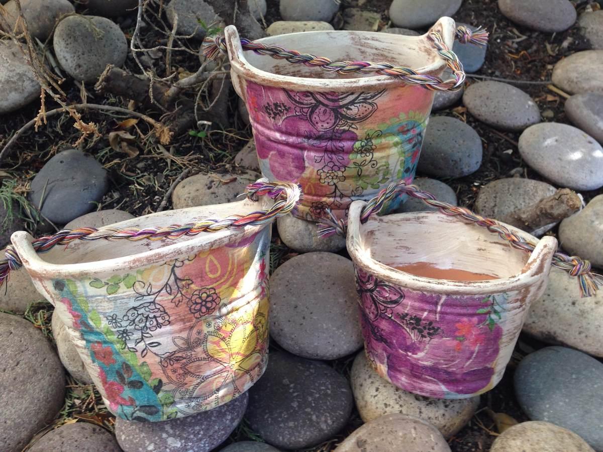 Macetas de barro decoradas estilo vintage 3 piezas 390 - Decoracion de macetas de barro ...