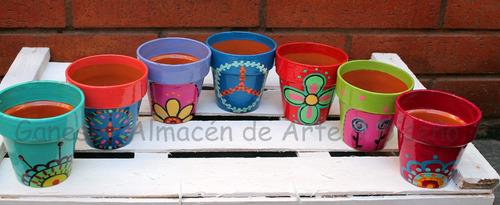 macetas de barro pintadas a mano- diseños únicos