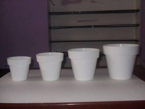Macetas de plastico blancas para baby shower o nacimiento - Macetas de plastico ...