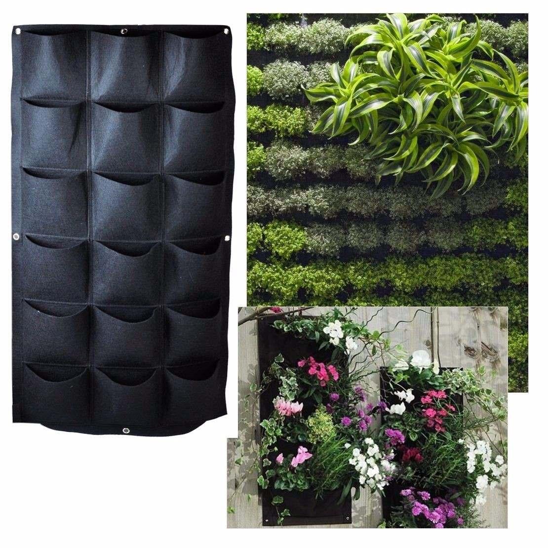 Macetas para jard n vertical o muro verde de 18 bolsas - Como hacer un muro verde ...