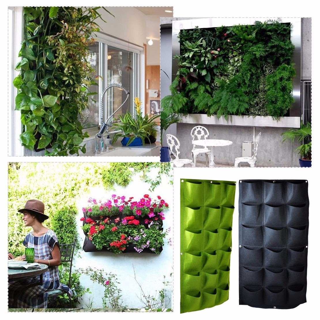 macetas para jard n vertical o muro verde de 18 bolsas