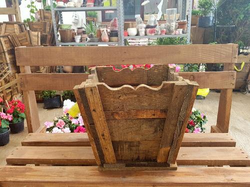 macetera de madera jardinera vintage rustica cuadrada 25x30
