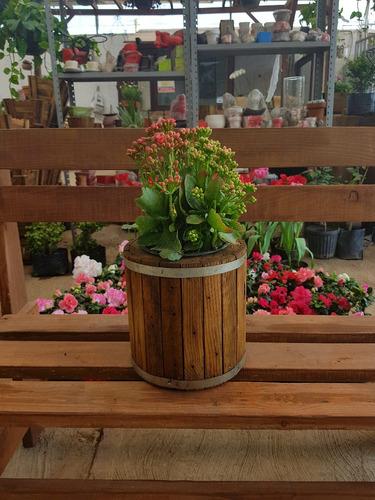 macetera de madera jardinera vintage rustica redonda 30 x 30