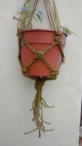 macetero artesanal de hilo sisal
