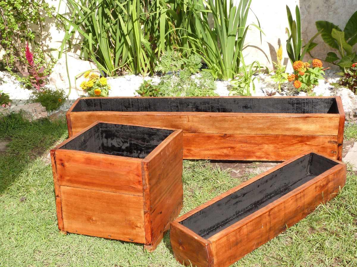 Macetas madera retro caja de madera rectangular hermosa - Macetas madera exterior ...