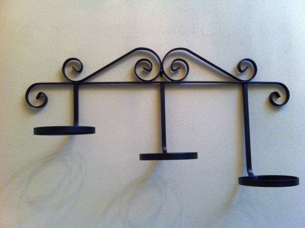 Macetero de pared en hierro forjado para tres macetas - Maceteros de hierro ...