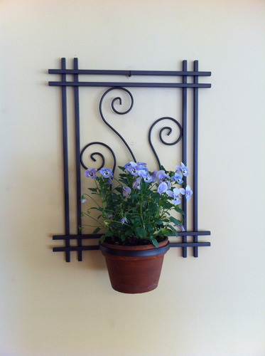 Macetero de pared en hierro forjado para una maceta m103 - Maceteros de pared ...