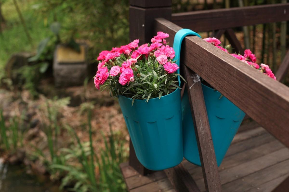Macetero Jardinera Colgante Doble Plastico Reciclable 10990 En - Jardinera-colgante