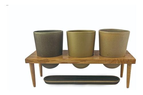 macetero maceta o-lab diseño 3 plantas madera ceramica