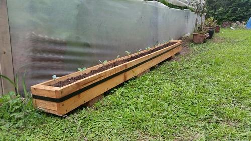 macetero madera 2,4mx18x20cm! ideal huerta! impermeabilizado
