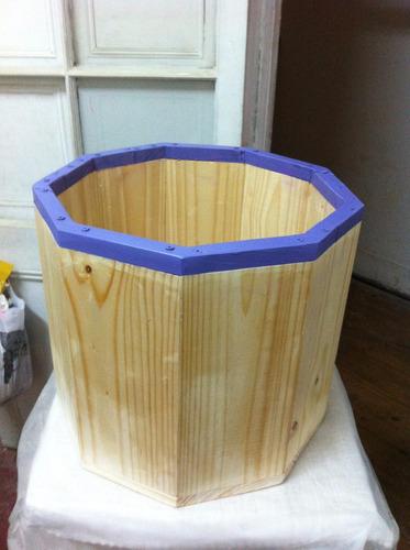 Macetero madera de 9 caras dise o nico con planta incluidas en mercado libre - Maceteros de madera baratos ...
