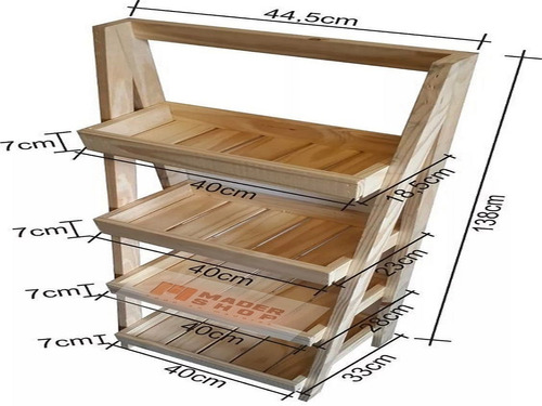 macetero organizador exhibidor escalera de pino - mader shop