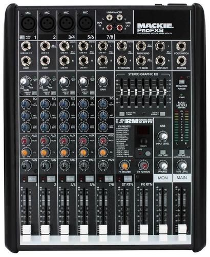 mackie pro fx8 mixer 8 canales 4 mono 2 stereo efectos y usb