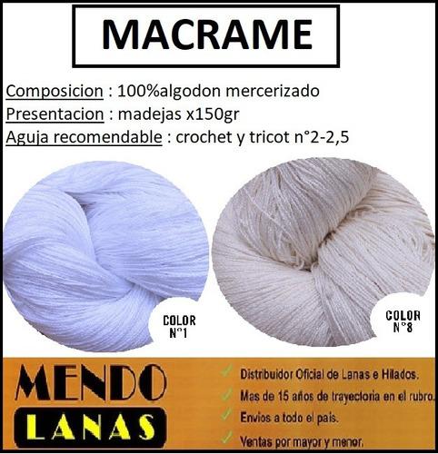 macrame madeja combo 15 madejas por 150gr +envio gratis