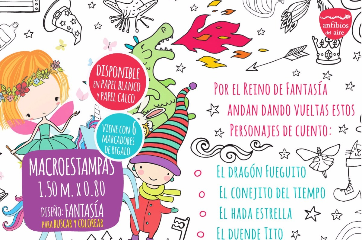 Macroestampa Fantasia Para Colorear Papel Blanco - $ 350,00 en ...