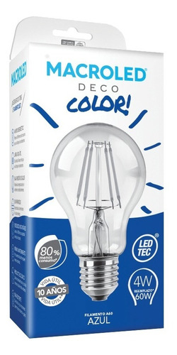 macroled lampara led deco bulbo color azul  4w a60 e27