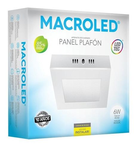 macroled panel flat cuadrado aplique led 6w  frío pc06