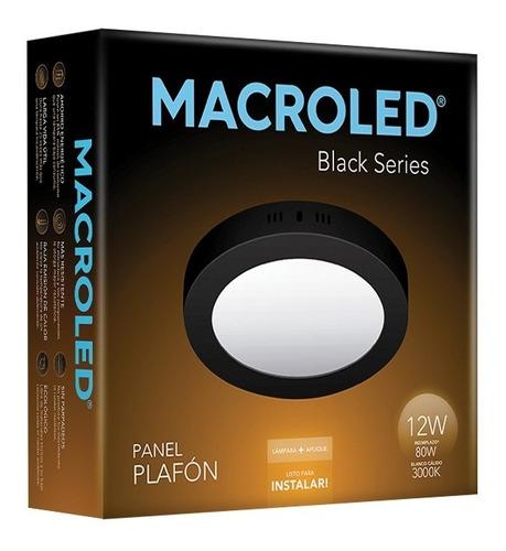 macroled panel plafón redondo led 12w cálido black npr12