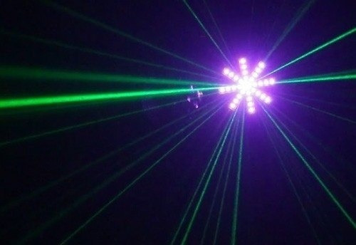 madbox 3 en 1 | efecto led + flash + laser luces fiesta dj