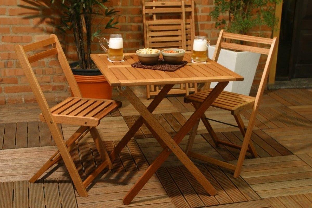 mesa de jardim em madeira : Mesa Quadrada Madeira Dobr?vel Butzke Varanda Jardim Lazer ...