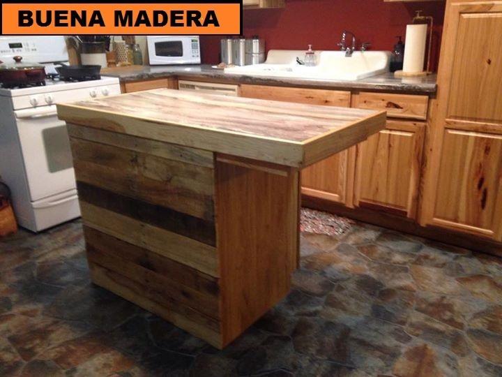 Isla De Madera Para Cocina, Rustica // Buena Madera - $ 5.700,00 en ...