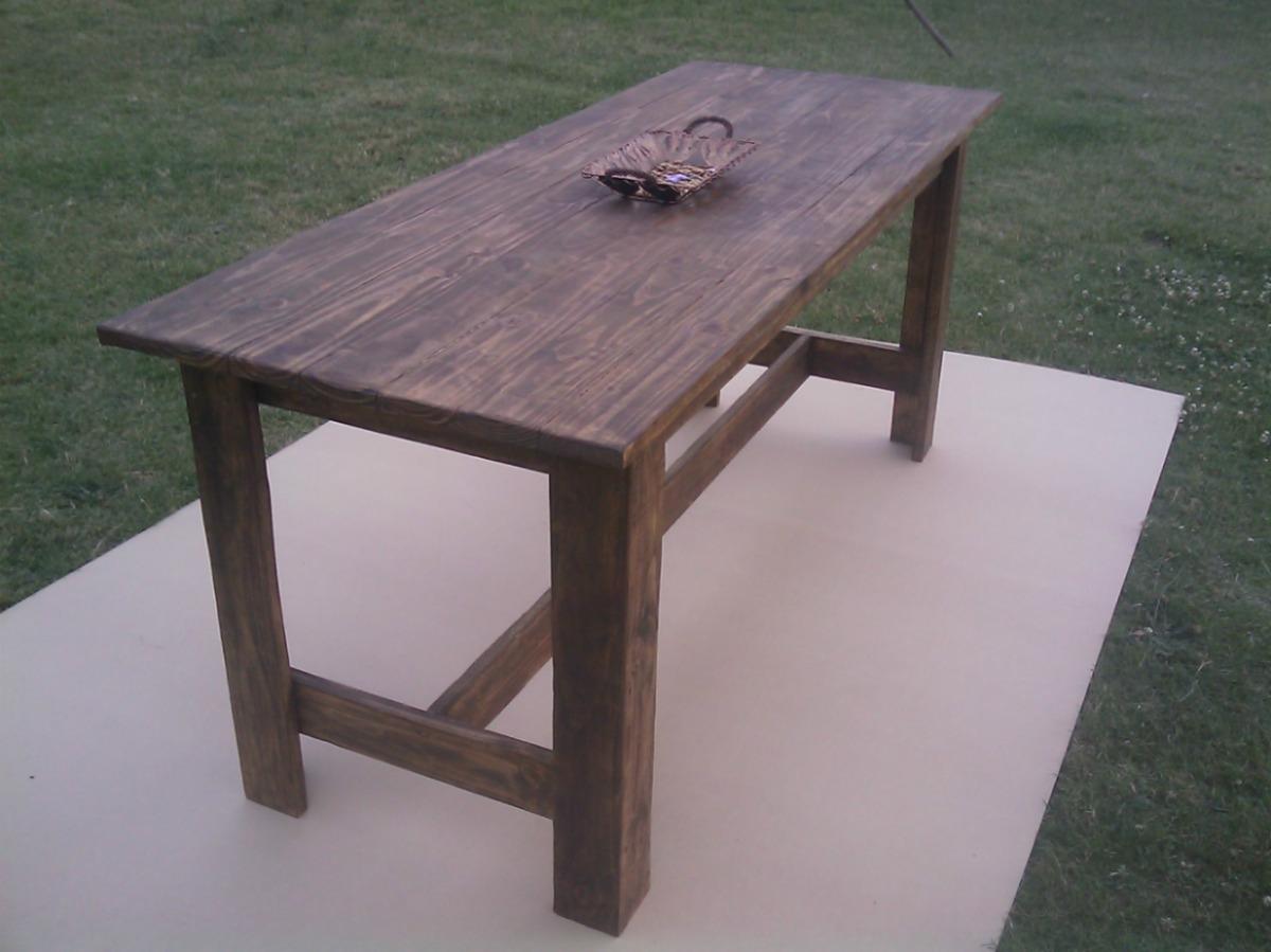 Mesa de madera rustica maciza para interior y exterior for Mesas rusticas de madera maciza