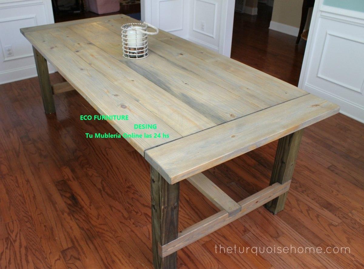mesa rustica de madera estilo campo apta interior exterior