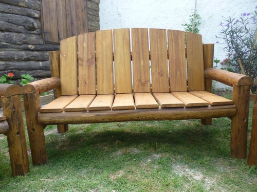 Juego sillones madera tratada piscinas patios jard n deck for Sillones de patio de madera