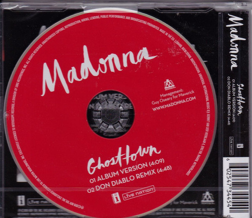 madonna - ghosttown cd single (importación)