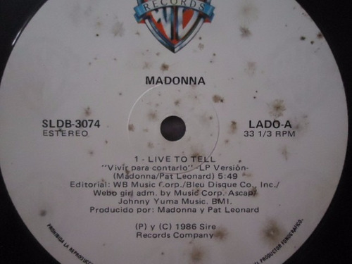 madonna / live to tell vinyl lp acetato nacional