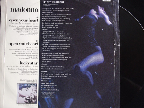 madonna -open your heart / lucky  star- extended version/dub