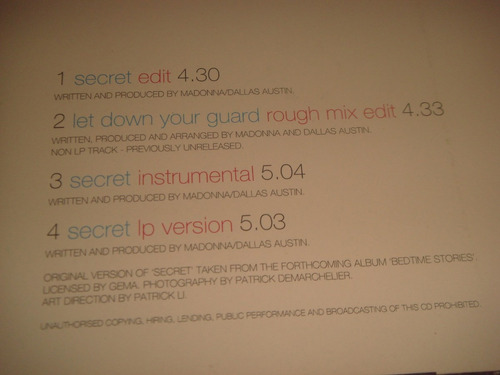 madonna secret cd single
