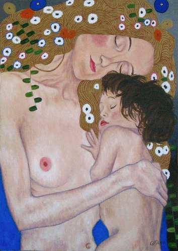 madre con bebe cuadro oleo enmarcado copia de klimt
