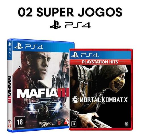 mafia iii + mortal kombat x - ps4 - ( mídias físicas, originais e lacradas )