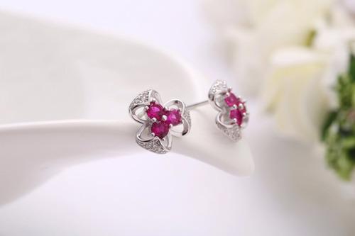 magenta crystal earrings