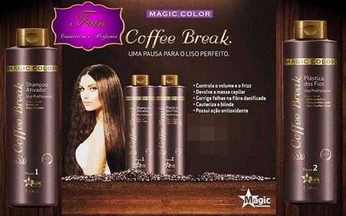 magic color coffee break  escova progressiva 2x 1000ml