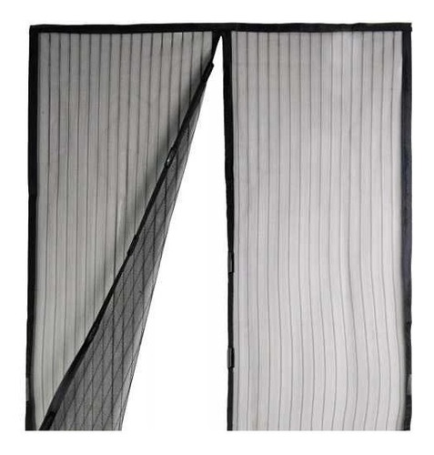 magic mesh cortina puerta mosquitero magnetico color negro