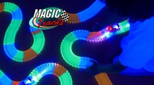 magic tracks 220 piezas brillantes, 3 autos rapidos leds